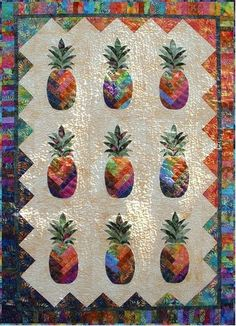 Images of batik quilts designed by Vicki Stratton, Quilting Time Designs Pineapple Quilt Pattern, Pineapple Quilt Block, Hawaiian Quilt Patterns, Pineapple Art, Hawaiian Quilts, Pineapple Images, Hawaiian Leis, Tropical Quilts, Coastal Quilts