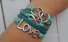 Soulmate Bracelet - Blue Green Wax Rope , Ancient Silver Love,infinite,soulmate Bracelets, Send The from Picsity.com