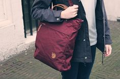 Fjällräven Totepack No. 1 Tote Bag | Dark Garnet | The Fjällräven bag is great for traveling, packing up small when empty, and will last forever.