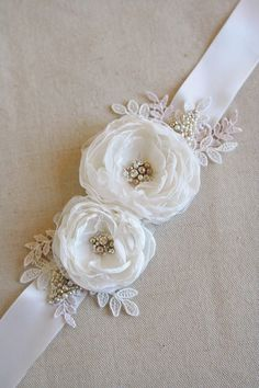 Bridal Flower Sash Wedding Flower Belt Narrow Ribbon Dress Sash Vintage Dress Sash Diamond White Tan Champagne Lace by BelleBlooms