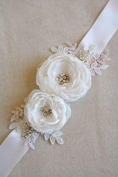 Bridal Flower Sash Wedding Flower Belt Narrow Ribbon Dress Sash Vintage Dress Sash Diamond White Tan Champagne Lace by BelleBlooms