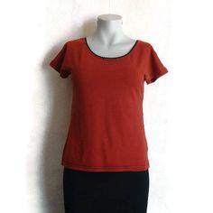 124517a8c6 MARIMEKKO T- Shirt Red & Black Striped Tee Women's Clothing M Size Summer  Shirt Cotton
