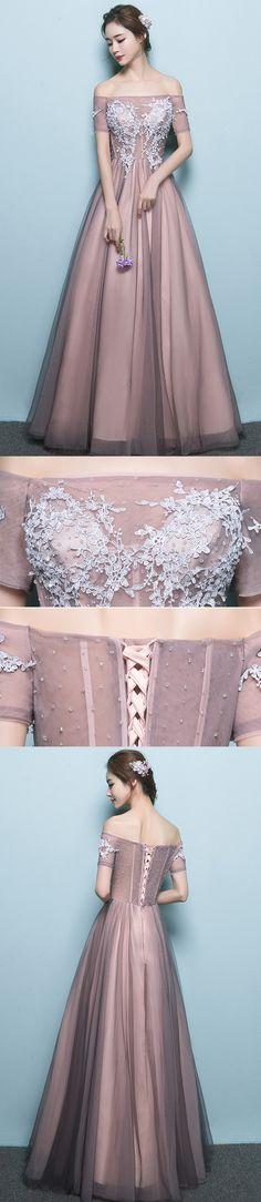 Long Prom Dresses, Tulle Prom Dresses, Off-Shoulder Party Dresses, Applique Evening Dresses, A-Line Prom Dress, Beading Prom Dress, Gorgeous Prom Dress, LB0613