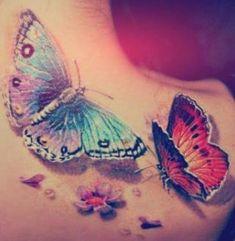 Schmetterlinge 3D Tattoo Schulter