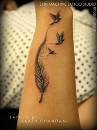 This is one of my fav work Feather with birds. Tattoo by Akash Chandani. India