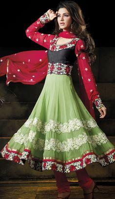 Lawngreen Faux Georgette Churidar #Anarkali #Design   @ $101.75