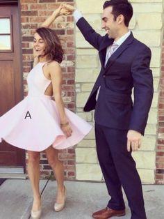 A-Line/Princess Halter Sleeveless Short/Mini Satin Dresses