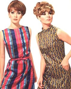 Burda Moden March 1967.  Love the Blue striped sleeveless dress and hairdo.