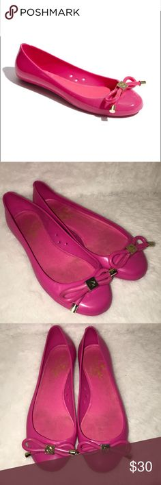 Pink Kate Spade Jelly flats Super cute pink and gold jelly flats.   ❗️Please no low ball offers.❗️ ❗️Bundles always get a discount.❗️ Condition: Good, used, see all wear in pictures   Smoke free home but I have a small dog.  Thanks for checking out my closet! ❤️ kate spade Shoes Flats & Loafers