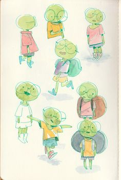 Page of tortoise from sketchbook Illustrations, Illustration Sketches, Character Illustration, Watercolor Illustration Children, Winter Illustration, Character Design Animation, Character Creation, Character Art, Miraculous Ladybug