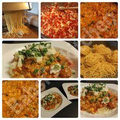 SELBSTGEMACHTE SPAGHETTI MIT TOMATEN - PAPRIKA - FETA - PARMESAEN - SAUCE Rezept: http://babsiskitchen-foodblog.blogspot.de/2015/10/selbstgemachte-spaghetti-mit-tomaten.html