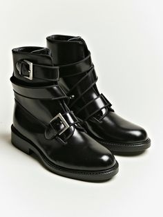 Junya Watanabe women's Twisted Strap Cordovan Boots from S/S 12 collection in black.