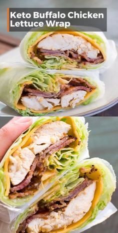 This easy Keto Buffalo Chicken Lettuce Wrap is loaded with sharp cheddar cheese, crispy bacon, grilled chicken and a heavy dose of tangy buffalo sauce! Less than three net carbs per wrap! and Drink meals Keto Buffalo Chicken Lettuce Wrap Lunch Recipes, Healthy Dinner Recipes, Low Carb Recipes, Diet Recipes, Easy Keto Recipes, Lettuce Recipes, Cheap Recipes, Club Sandwich Recipes, Breakfast Recipes