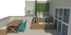 Terraço com deck para hidro, parede verde, mesa de madeira tipo piquenique, cadeiras azuis Oppa e banco com futton. Projeto: Alessandra Onofri