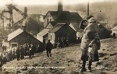 The original photograph depicting a mother and child at the Universal Colliery site in Senghenydd, South Wales. Such a massive tragedy - 439 killed in an explosion around 8.00am on Tuesday, 14th October 1913. (with another 81 killed in the same colliery  even before then, in 1901.)
