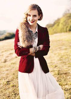 Emma Watson, fun fall shoot with fancy red coat