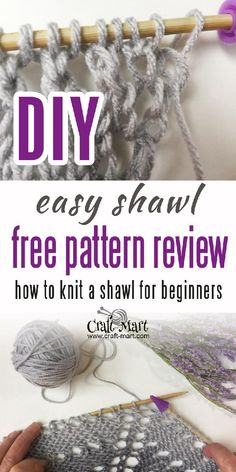 A very easy way to learn for beginners how to knit a triangular shawl. Checkout our FREE triangle shawl knitting pattern with step-by-step tutorial Baby Knitting Patterns, Free Knit Shawl Patterns, Knit Wrap Pattern, Free Pattern, Easy Knitting Projects, Knitting Blogs, Knitting For Beginners, Free Knitting, Knitting Ideas