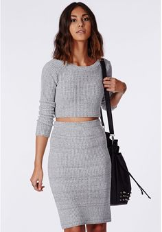 Missguided Casey Knit Scoop Neck Crop Top Grey on shopstyle.com
