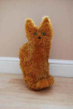 Handmade Faux Fur Ginger Sitting Cat Doorstop