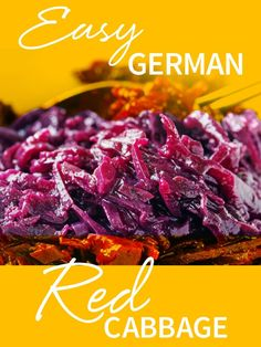 Easy German Red Cabbage This authentic sweet and sour cabbage is a quick and easy side dish. Add chopped apples, chestnuts, or walnuts for a tastier variation on the original. Serve it as a side dish with beef, chicken or even sausage! Veggie Recipes, Cooking Recipes, Apple Recipes, Kitchen Recipes, Pizza Recipes, Recipes Dinner, Lunch Recipes, Easy Recipes, Dessert Recipes