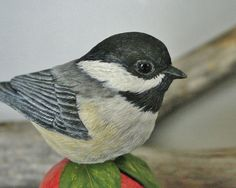 Hand Carved Chickadee Wood Carving by TurtleMtnArtistry on Etsy