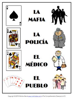 Play MAFIA in language classes to provide comprehensible input! Spanish Vocabulary Games, Spanish Games, Spanish Teaching Resources, Spanish Activities, Class Activities, Grammar Games, Class Games, Spanish Lessons For Kids, Spanish Basics