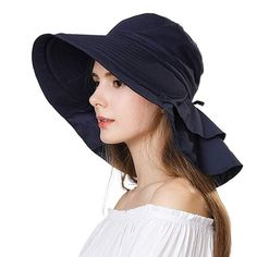 SIGGI Summer Bill Flap Cap UPF 50 Cotton Sun Hat Neck Cover Cord Women  Review Uv d12551c6c853