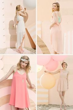 Editorial Photography Pastel Fashion Dresses and Balloons