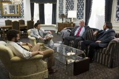 Richie Dimaso (Bradley Cooper), Mayor Carmine Polito (Jeremy Renner), Rep. Kevin O'Connell (Charlie Broderick) and Irving Rosenfeld (Christian Bale) in the Plaza Hotel - Gen Sherman Suite in Columbia Pictures' AMERICAN HUSTLE. Photo by:  Francois Duhamel