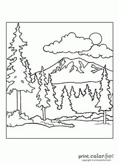 printable mountain coloring page. free pdf download at http ... - Mountain Landscape Coloring Pages