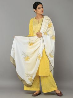 Yellow Off White Cotton Gota Suit - Set of 3