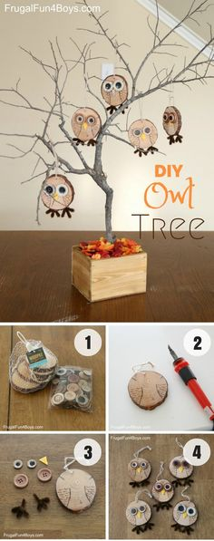 Easy to make cute DIY Owl Tree for fall decor @istandarddesign