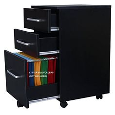 Amazon.com : DEVAISE 3-Drawer Wooden File Cabinet with Wheels, 15.7-Inch x 15.7-Inch x 25.8-Inch, Black : Office Products