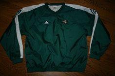 New NOTRE DAME Irish Green Adidas Pullover nylon Jacket-Men's XL-football/golf