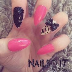NAILED IT! Hand Painted False Nails - Pink Leopard Print Glitter Bow by NailedItByChelsey on Etsy https://www.etsy.com/uk/listing/203651301/nailed-it-hand-painted-false-nails-pink