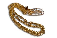 18 karat gold beaded African style necklace.
