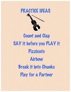 Poster with ideas for in-class practice time. Beginning String Orchestra Classroom Resource