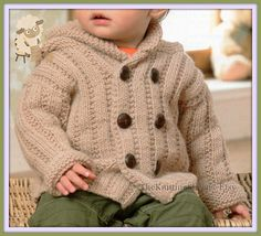 PDF Knitting Pattern  Babies/Child's Aran Hooded