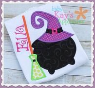 Witchy Things Applique - Here is an applique that shows all things Witchy! A Cauldron, a Witches Hat and her Broom.