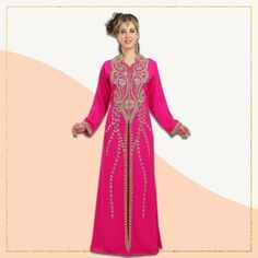Make a fashionable statement in this hot pink Kaftan Abaya Dress from our latest drop! It features golden hand embroidery work, a collared neckline and a flattering fit. Product no: 5799