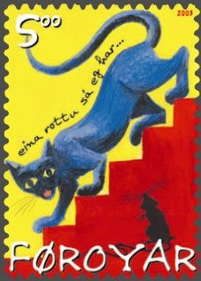 Faroe cat stamp 2003