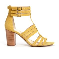 Sole Society Elise Gladiator Heel (£55) ❤ liked on Polyvore featuring shoes, sandals, mustard, gladiator shoes, summer shoes, mustard shoes, greek gladiator sandals and leather gladiator shoes
