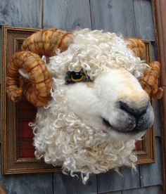 Needle Felted One of a kind Sheep Ram Faux Taxidermy Animal Soft Sculpture by Bella McBride of McBride House