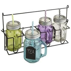 Mason jar tumblers are the latest trend in to-go cups—proving what's old can be new again. This set features four mugs, each with a chalkboard inset and lid with straw, in a range of electric shades. (Chalk included.) A bright idea, huh?