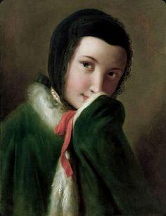 Portrét ženy s čiernou čipkou šatku, zelený kabát s bielou srsťou - 1750 - Pietro Antonio Rotary (taliansky maliar)