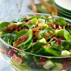 Baby Spinach Salad With Pears, Red Onions, Cranberries, and Toasted ...
