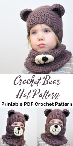 crochet bear animal hat crochet patterns - crochet pattern pdf - fr Kinder Make a Cute Bear Crochet Bear Hat, Easy Crochet Hat, Crochet Bear Patterns, Bonnet Crochet, Crochet Kids Hats, Crochet Crafts, Crochet Baby, Crochet Animal Hats, Booties Crochet