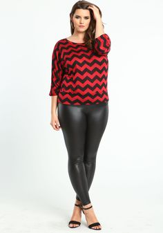 Plus Size Burgundy Chevron Tee - Love Culture