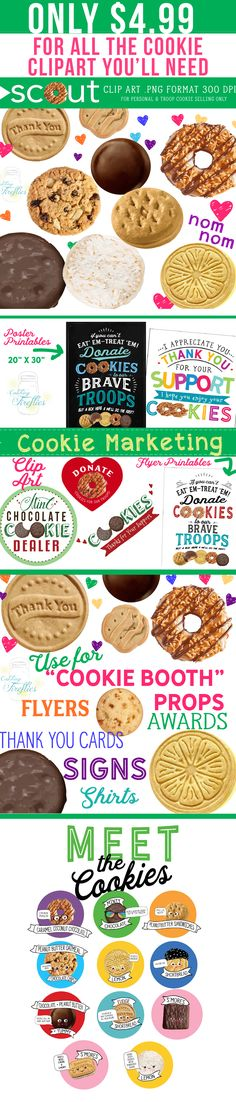 Girl Scout Cookie Clip Art for the Cutest Booth in Town. Clip Art and Marketing Material Girl Scout Swap, Daisy Girl Scouts, Girl Scout Leader, Girl Scout Troop, Girl Scout Cookie Image, Girl Scout Cookie Sales, Brownie Girl Scouts, Abc Cookies, Girl Scout Cookies Flavors