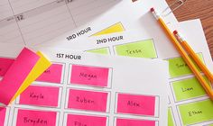 Create a seating chart template using Post-it® Page Markers.